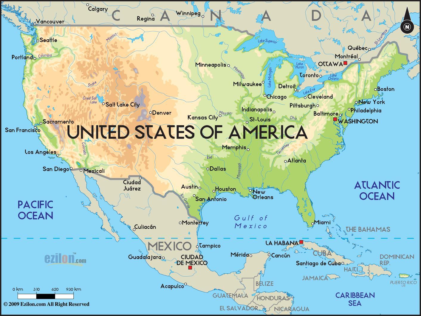 Amerika Karta Usa America Karta Nordamerika Och Nord Och