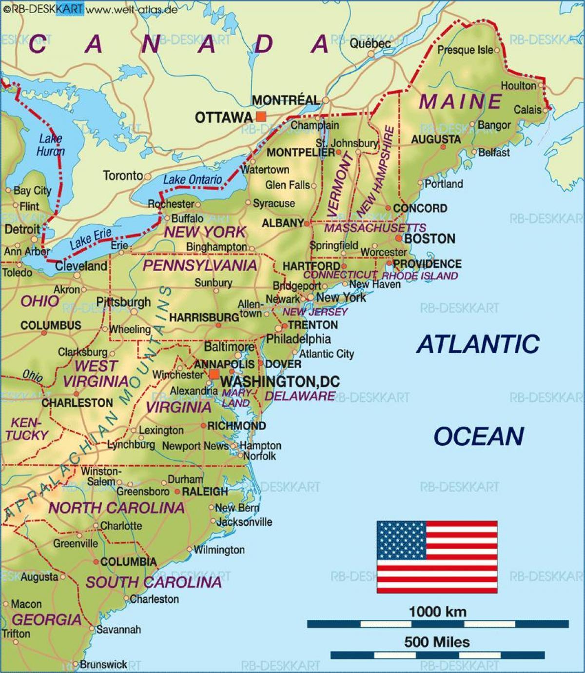 karta usa östkust Östkusten USA karta   OSS karta östkusten (Nordamerika och nord  karta usa östkust