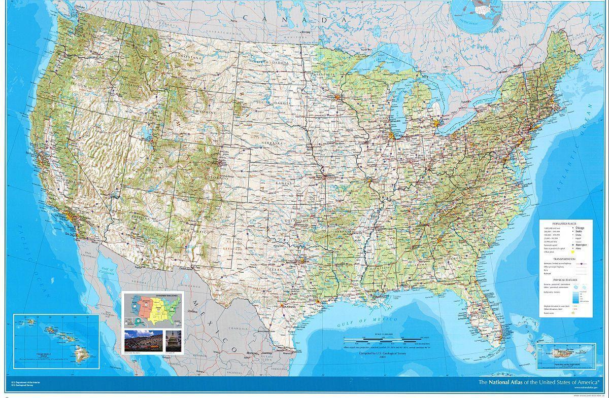 Atlas Karta Usa Atlas Karta Over Usa Nordamerika Och Nord Och