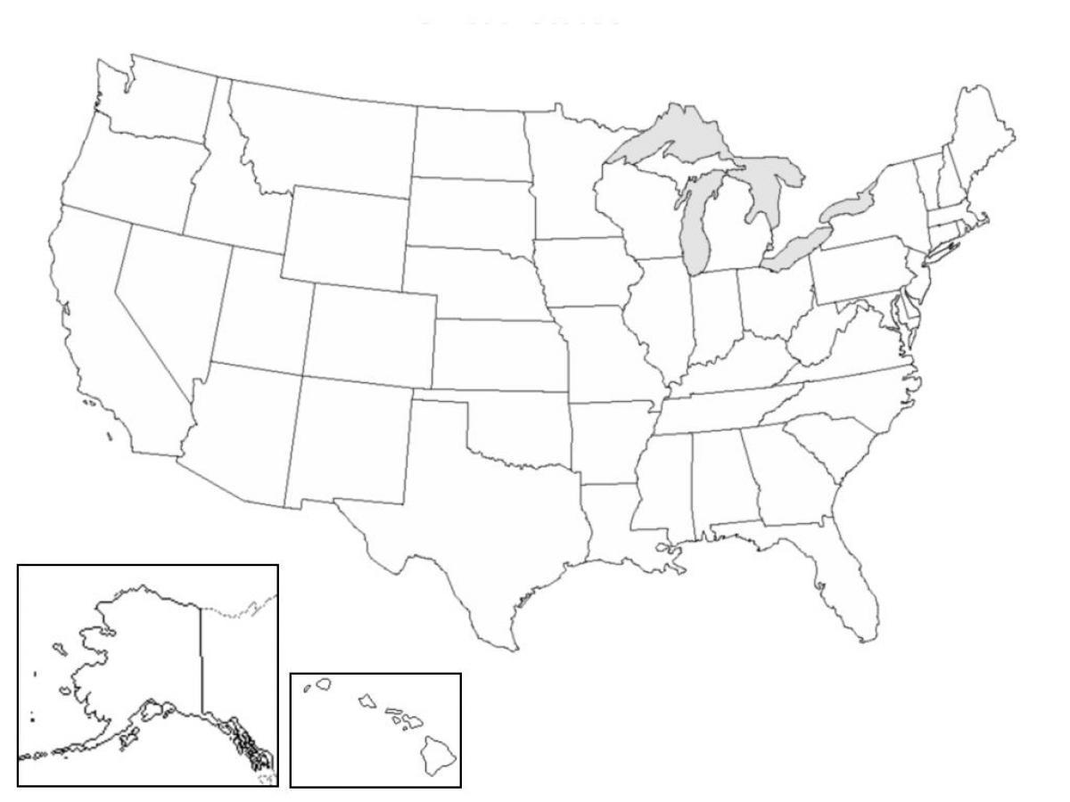 Medlemsstaterna Karta Quiz 50 Stater Karta Fragesport Nordamerika
